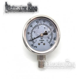 "All Stainless Steel Compound Gauge 1/4"" MNPT"